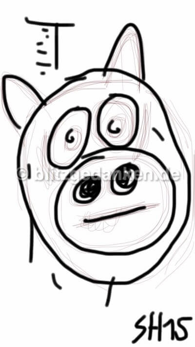 Computerzeichnung Schwein