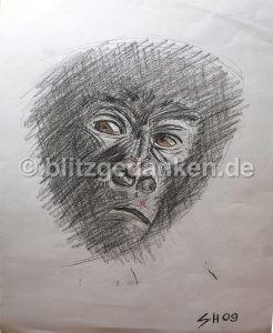 Bleistiftzeichnung Gorilla