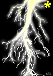 weiß-gelber Blitz auf schwarzem Grund