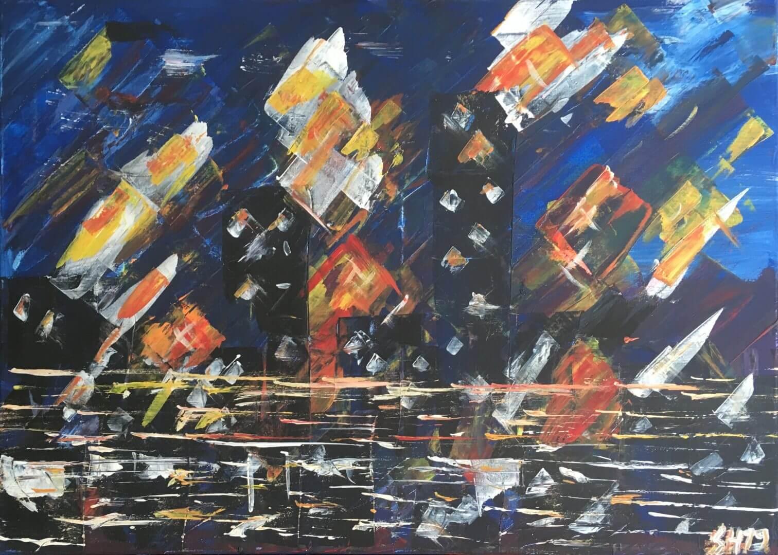 "Acrylgemälde 70cmx50cm ""Stadt am Fluss II"""